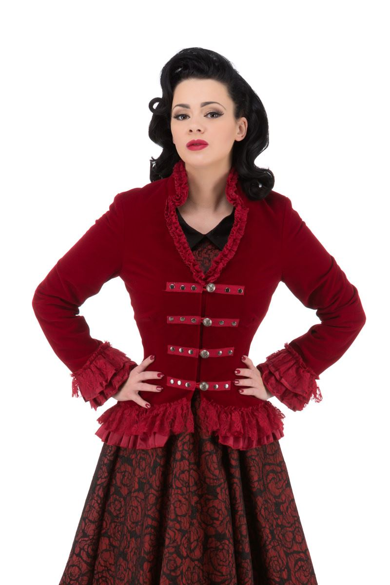 H/&R Gothic Victorian Velvet Tail Jacket with Corset Back PLUS SIZES 8-20