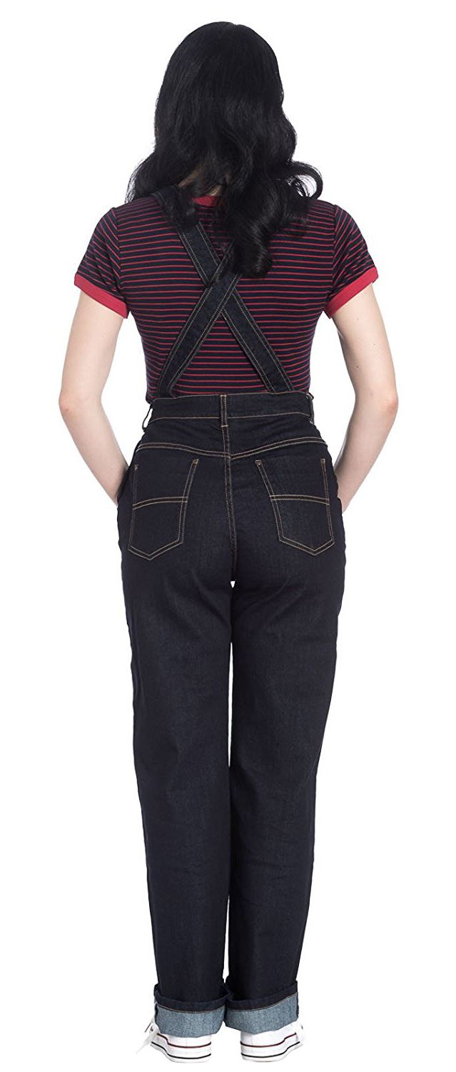 Hell Bunny Ella May Rockabilly Vintage Style Contrast Stitching Denim Dungarees