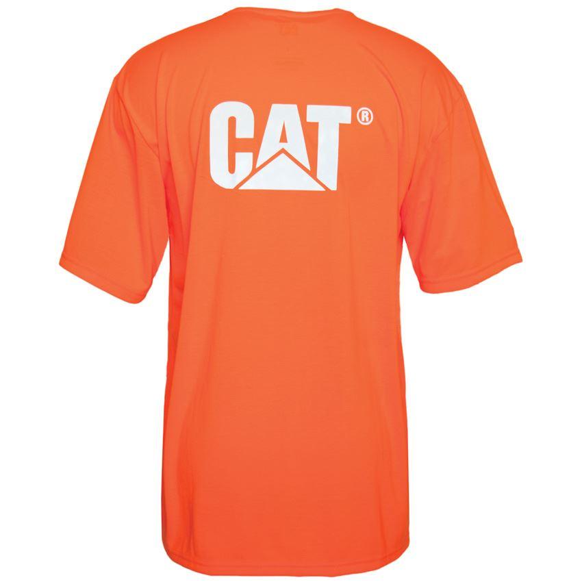 New caterpillar men 39 s hi vis work safety trademark pocket for Hi vis polo shirts with pocket