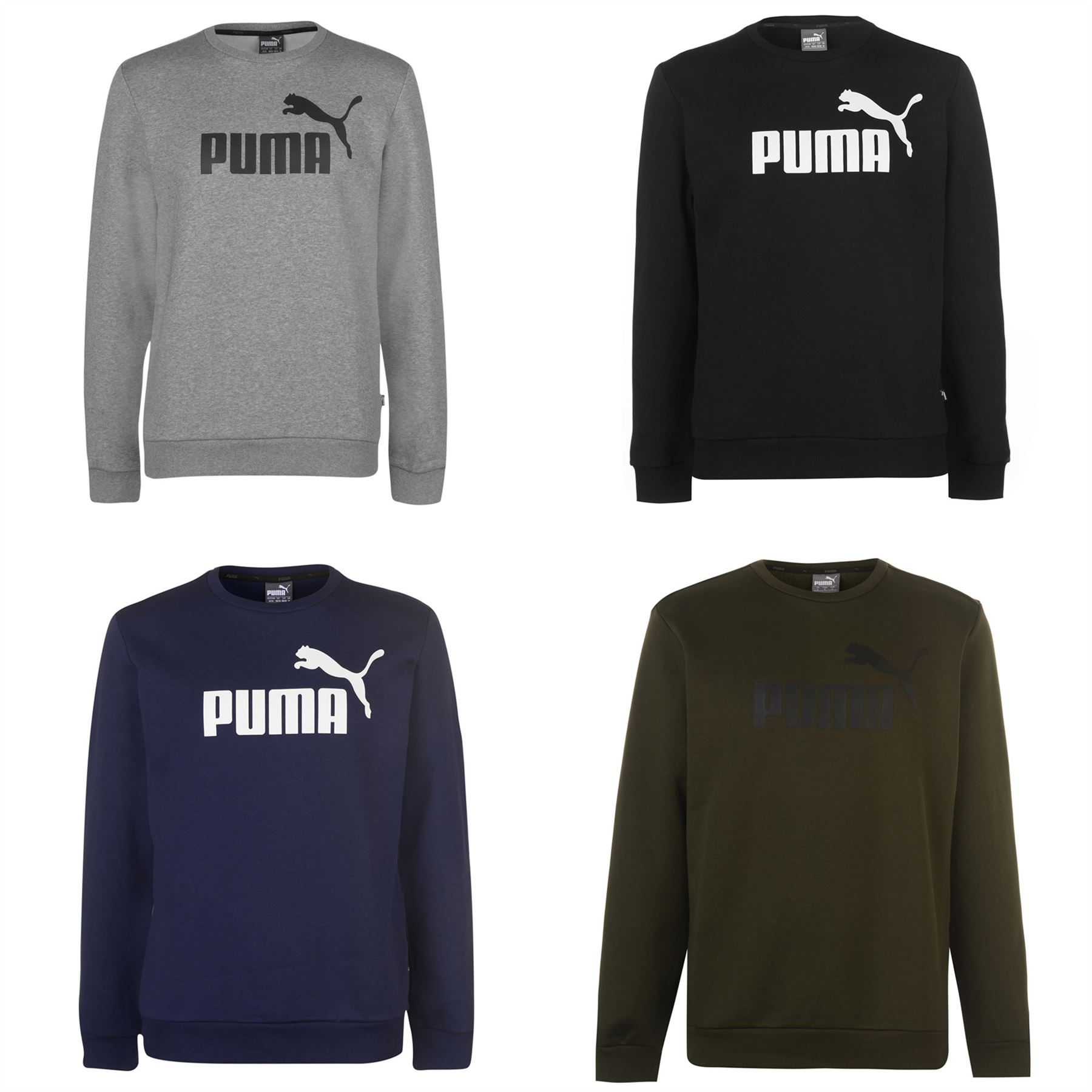 Puma No1 Crew Pullover Mens Gents Jumper Full Length Sleeve Neck Warm Stamp