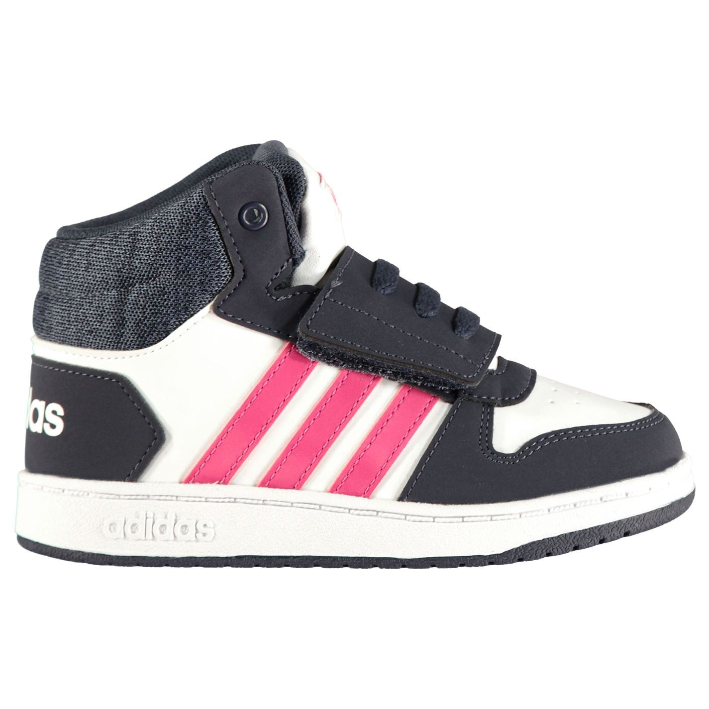 adidas Hoops Mid Infants Trainers Girls White//Pink//Navy Shoes Footwear