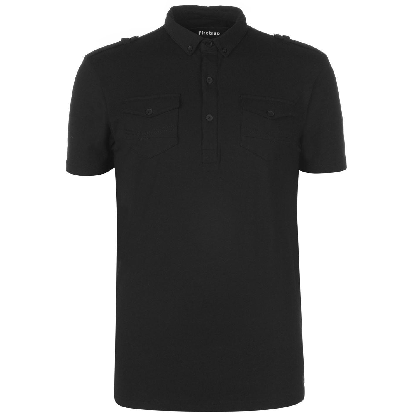 thumbnail 7 - Firetrap-Double-Pocket-Polo-Shirt-Mens-Collar-Top-Tee-Black-Medium