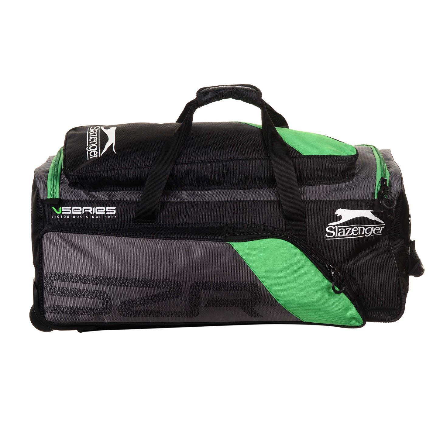 7d92d4fb99 ... Slazenger V-Series Pro Wheelie Cricket Bag Black/Green Bat & Pads  Holdall Case