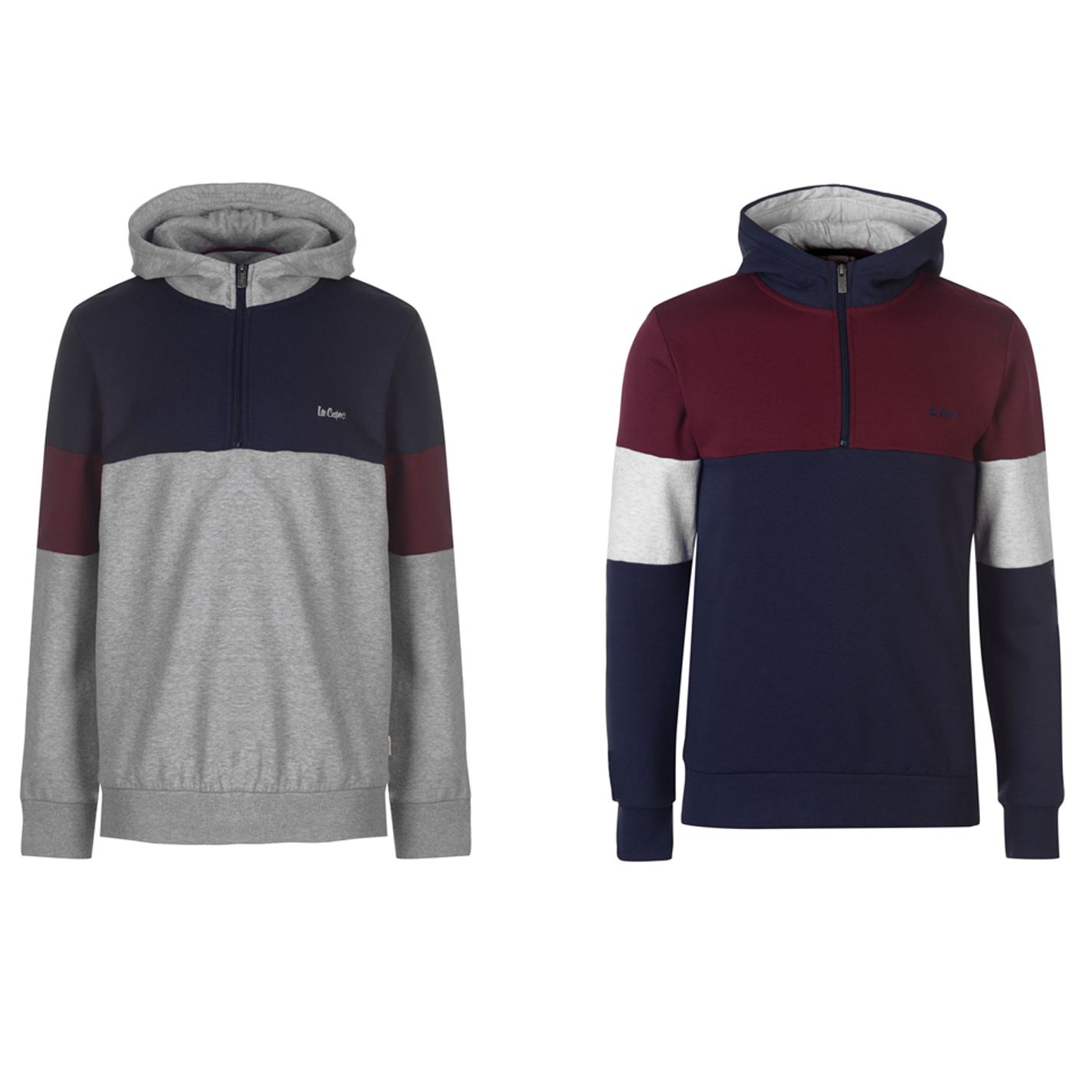 Details about Lee Cooper Cut and Sew Quarter Zip Hoody Mens Hooded Top Sweater Outerwear