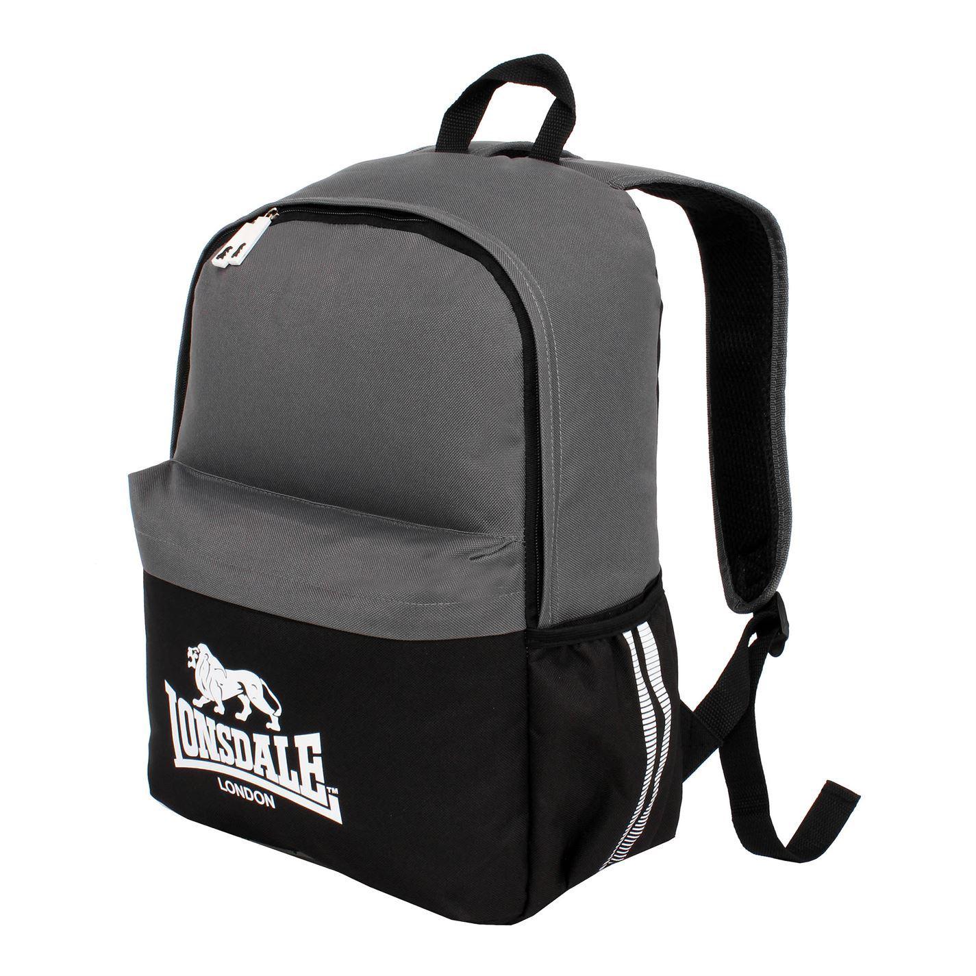 cef5030625c6a ... Lonsdale Pocket Backpack Black Charcoal Rucksack Sports Bag Gymbag  Kitbag ...