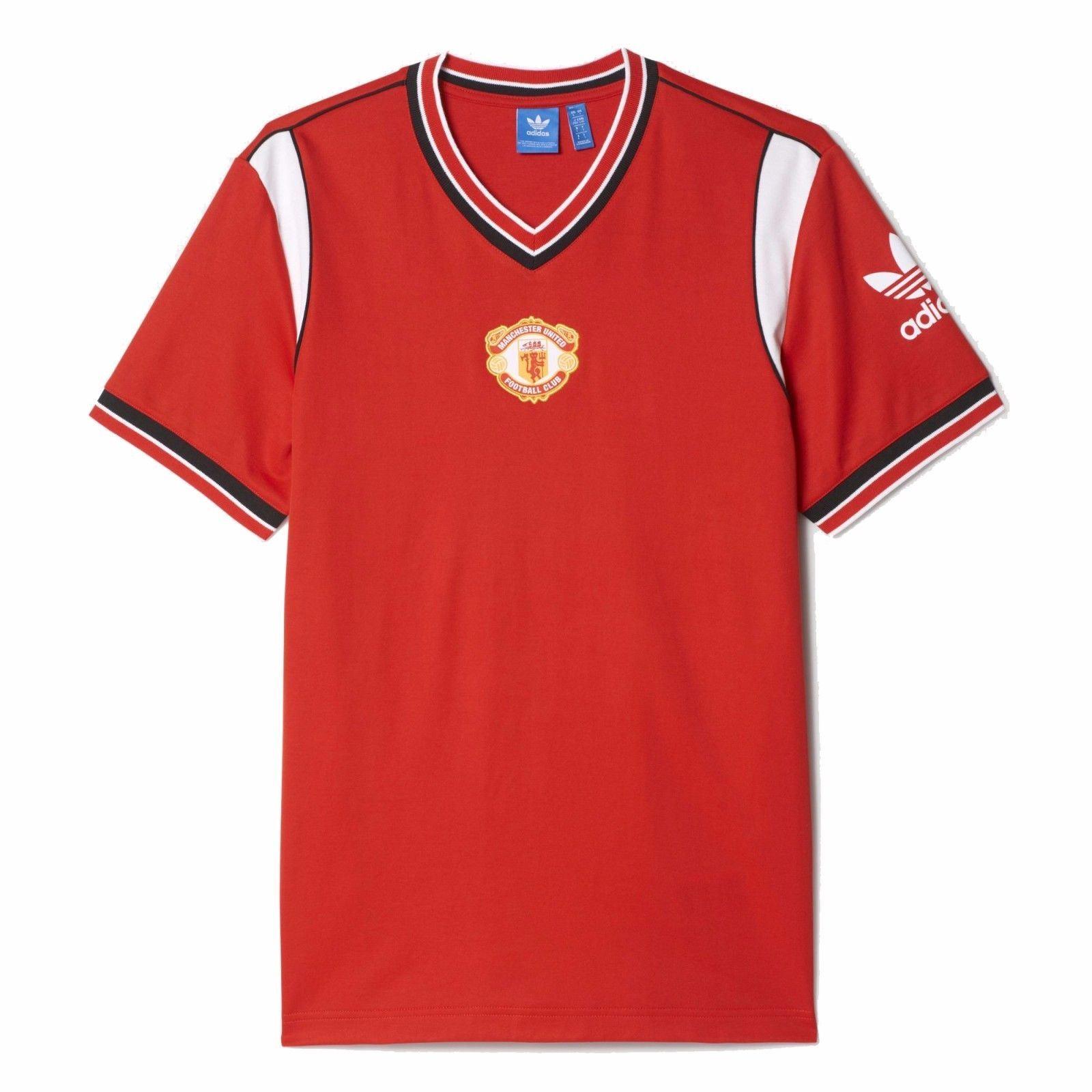22b681fb8d8 ... adidas Manchester United 1985 Retro Jersey Mens Red Football Soccer Top  T-Shirt ...