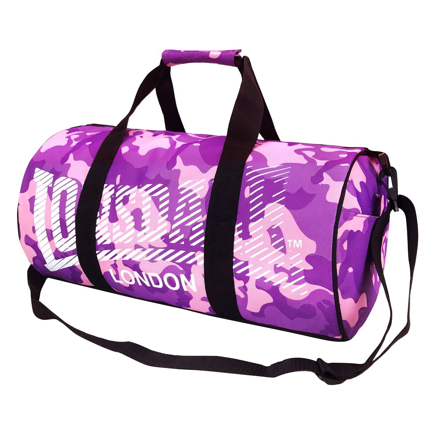 ... Lonsdale Barrel Bag Camouflage Pink Purple Sports Kit Holdall Carryall  Gymbag cce146acffabf