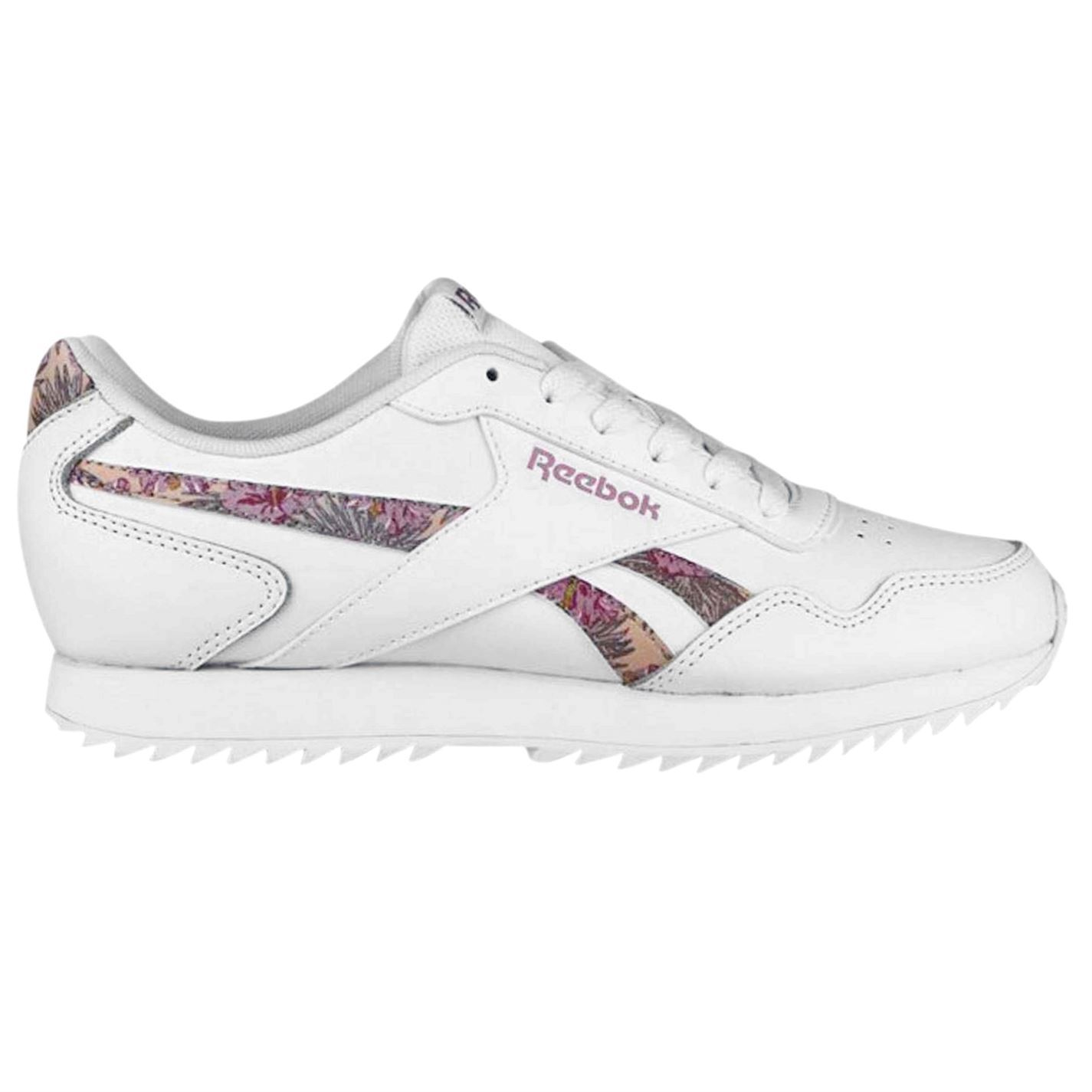 Details about Reebok Royal Glide Ripple Floral Trainers Womens White Athleisure Sneakers Shoes