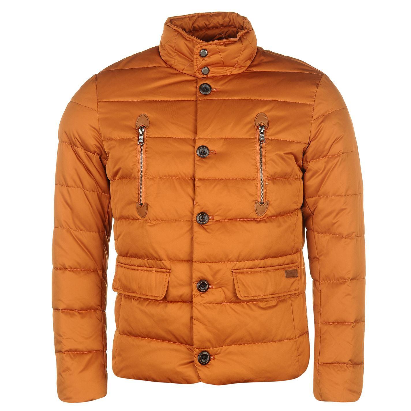 448f89258 Details about Lee Cooper Zip Down Jacket Mens Orange Coat Outerwear