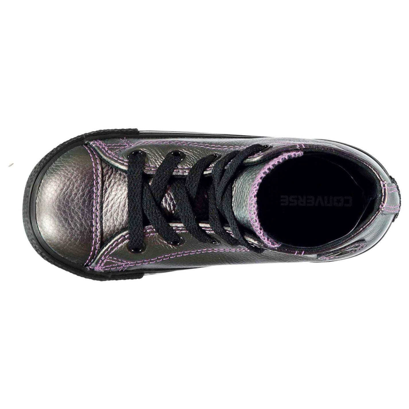 ... CONVERSE Hi Top calzature scarpe neonato formatori Irides ragazze viola  nero 119f5ae0870