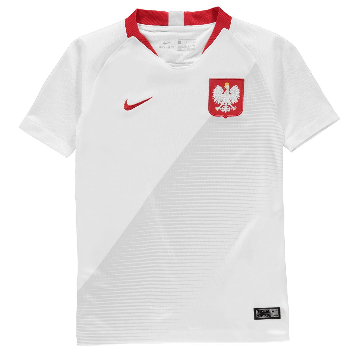 sale retailer cf620 47f1f Details about Nike Poland Home Jersey 2018 Juniors White Football Soccer  Top Shirt Strip