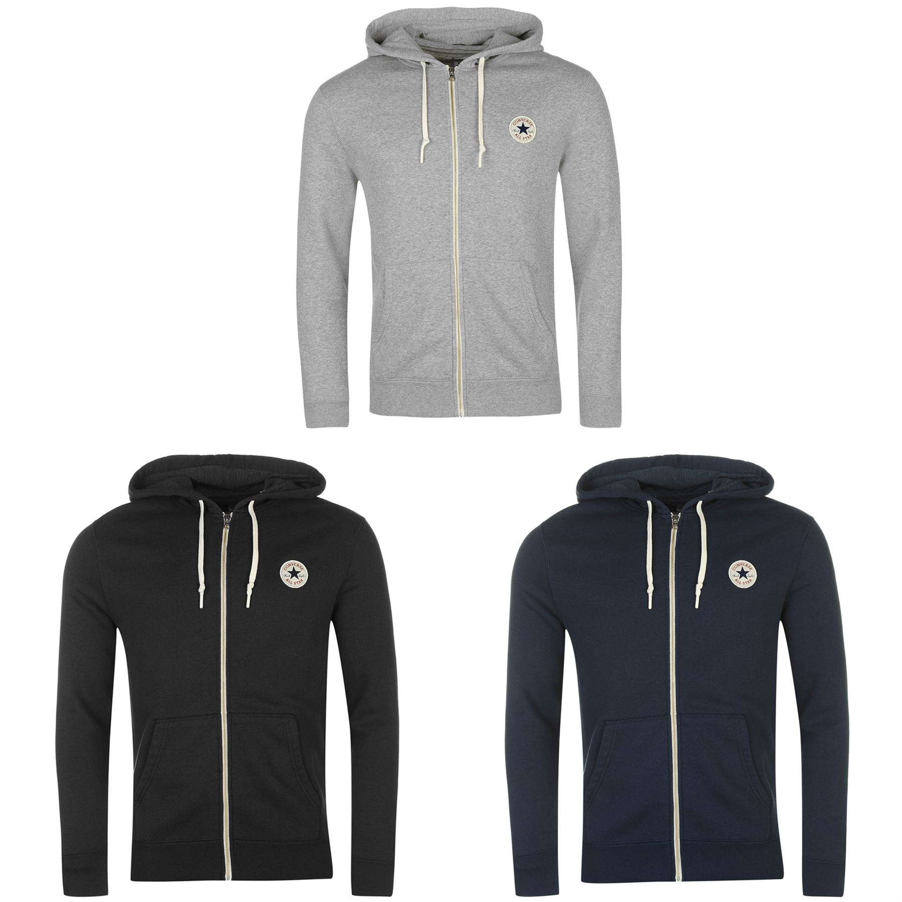 c4f96393bbc6b4 ... Converse Core Full Zip Hoody Jacket Mens Hoodie Sweatshirt Sweater  Hooded Top ...