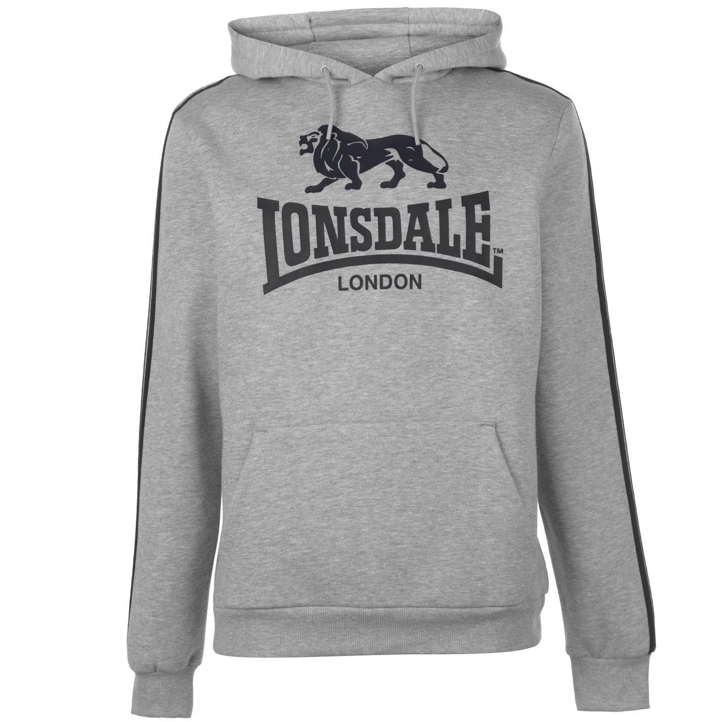 Lonsdale Logo 2 Stripe Pullover Hoody Mens Hoodie Top Sweatshirt ... 9ef9799e06