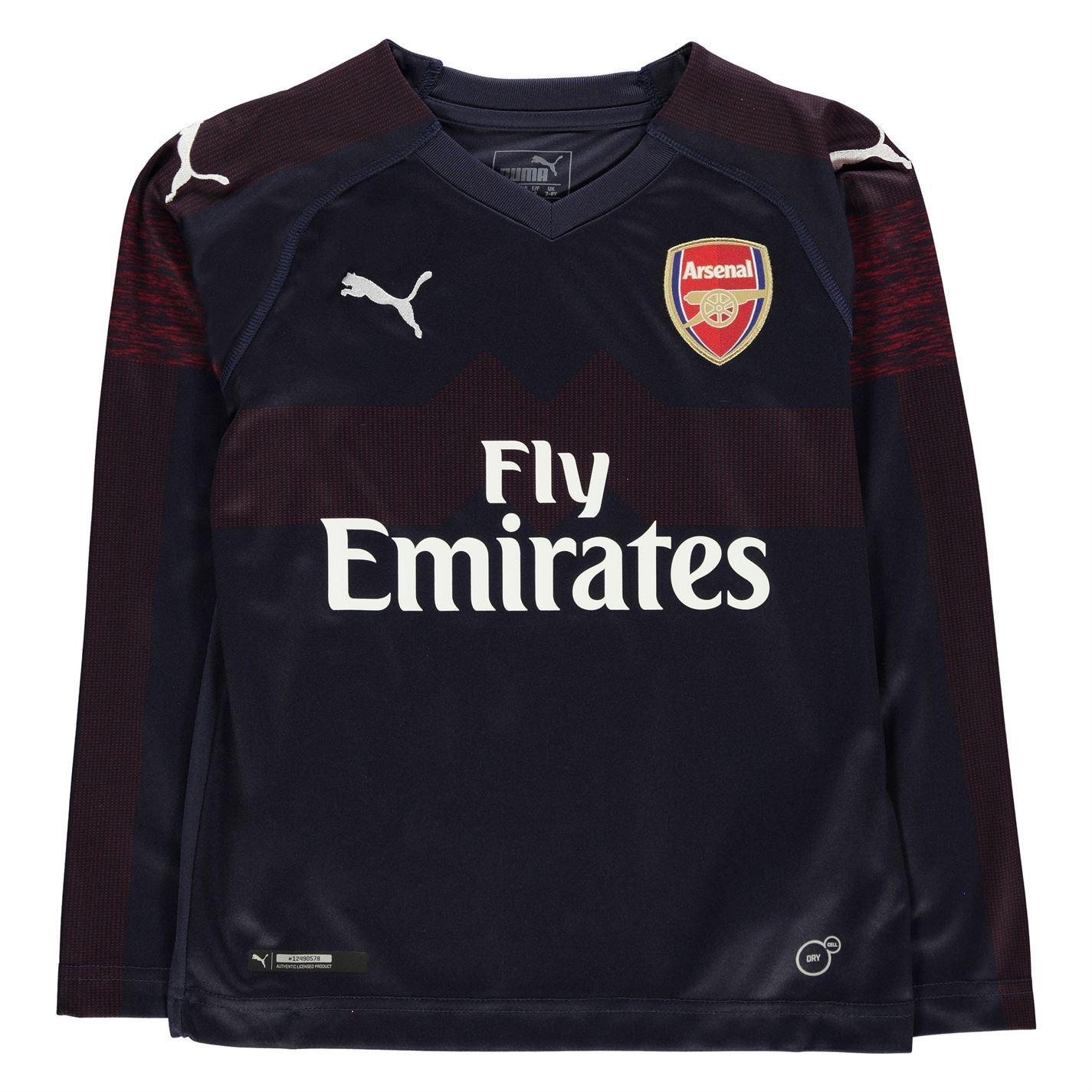 san francisco 5c5a6 413c0 Details about Puma Arsenal Long Sleeve Away Jersey 2018 2019 Juniors Navy  Football Soccer Top