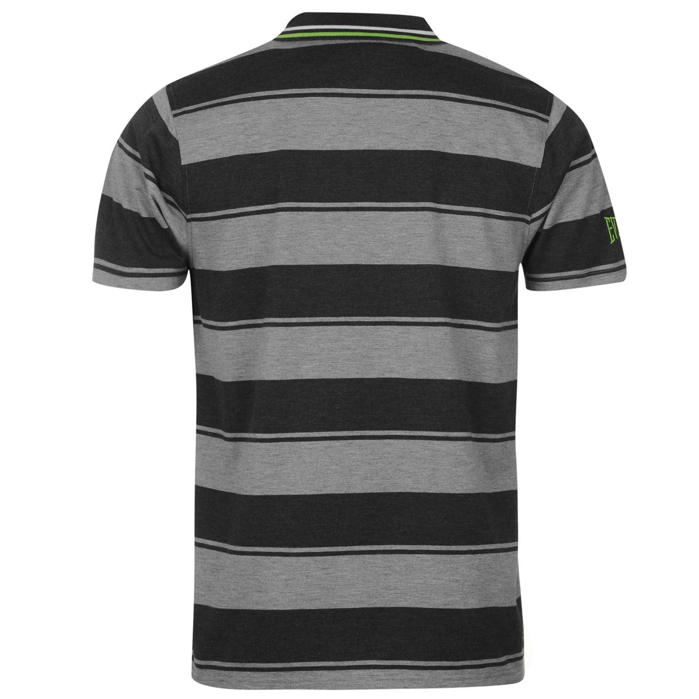 c931079e3 Details about Everlast Yarn Dye Bold Stripe Polo Shirt Mens Grey/Charcoal  Collar T-Shirt Top