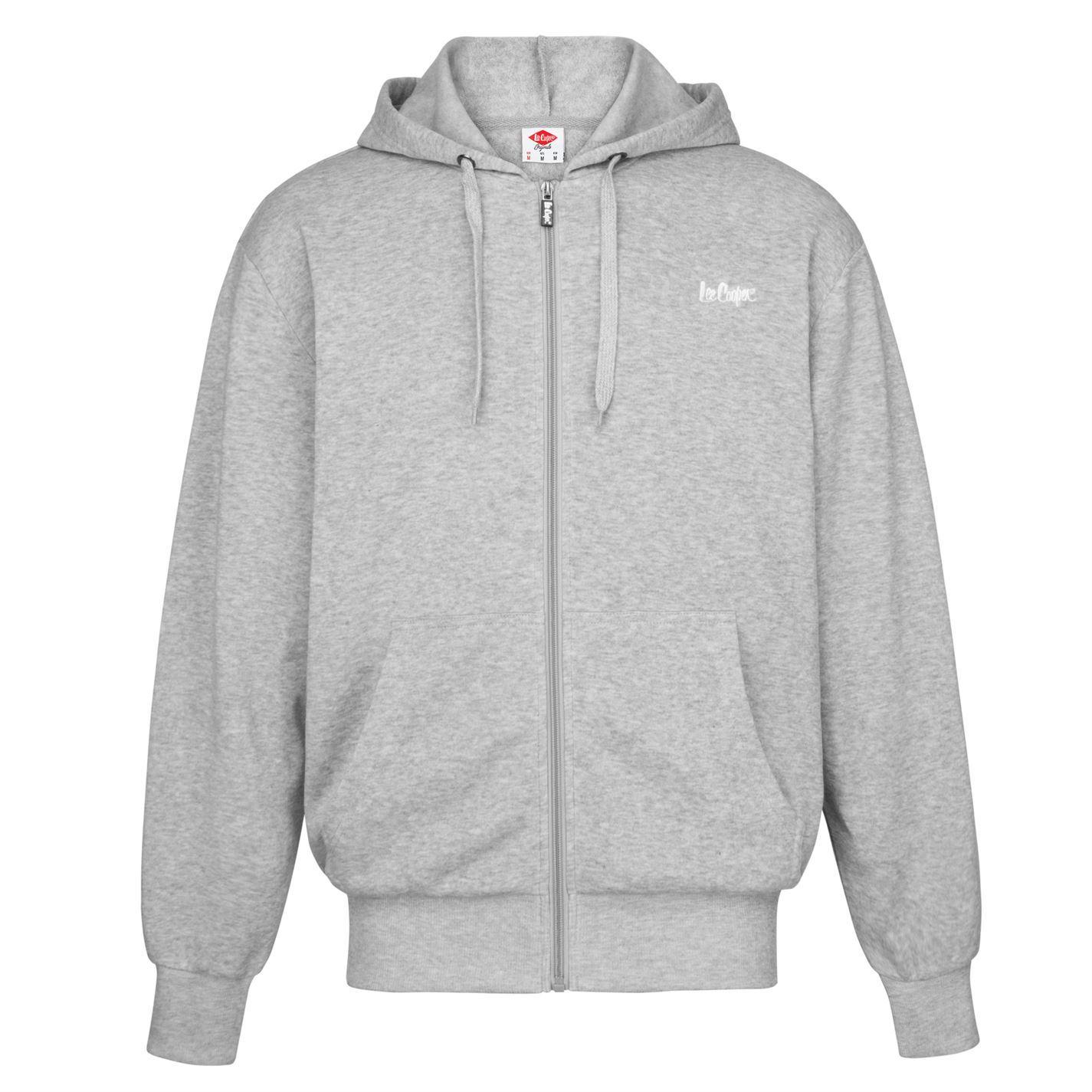 Details about Lee Cooper Full Zip Hoody Mens Grey Hoodie Hooded Jacket Sweatshirt Top