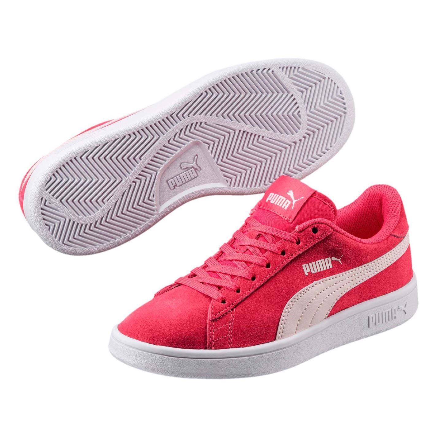 Détails sur Puma Smash Daim Junior Baskets Fille Rose Chaussures Chaussures