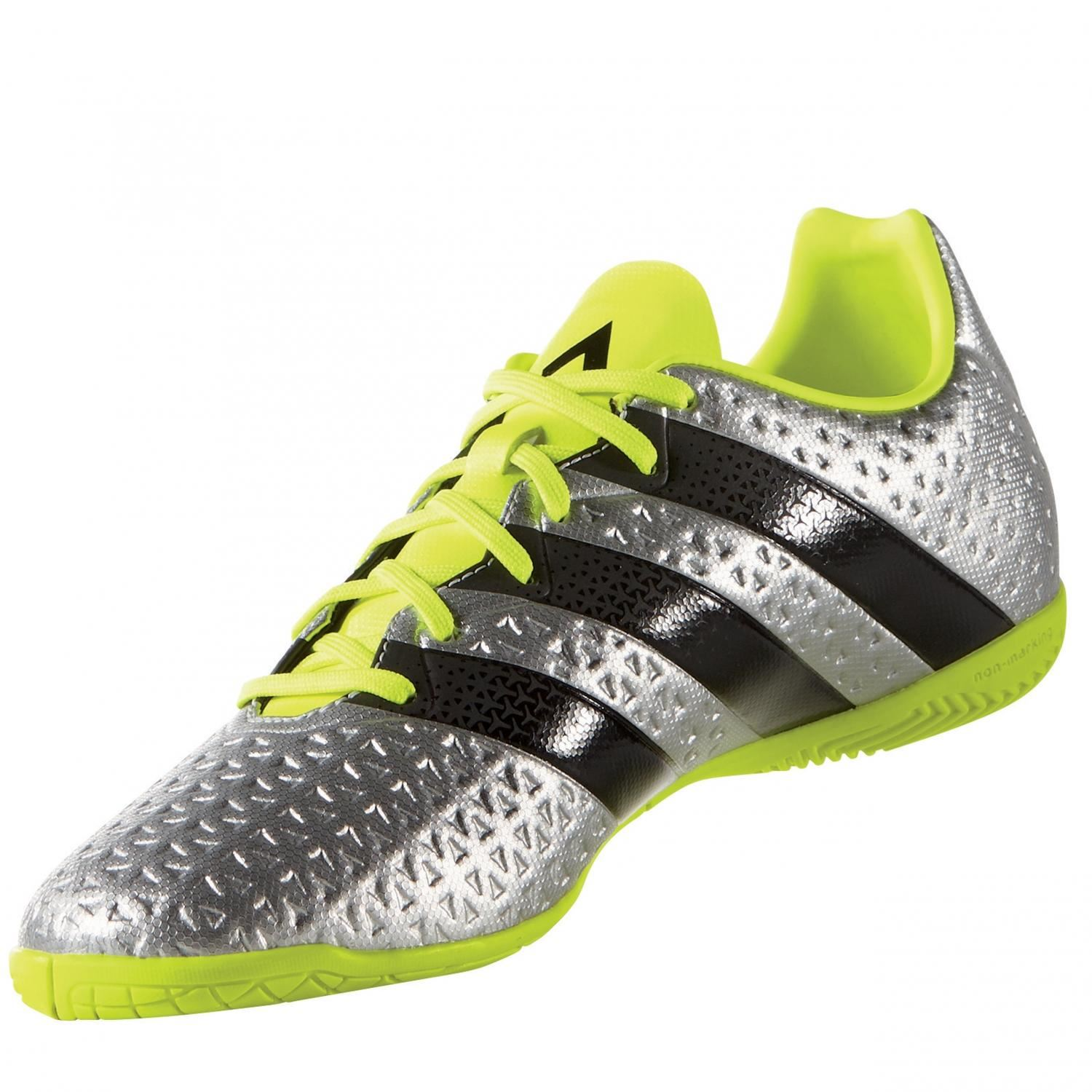 buy popular ae6fa fe389 Details about adidas Ace 16.4 Indoor Football Trainers Mens Silver/Yellow  Soccer Futsal Shoes