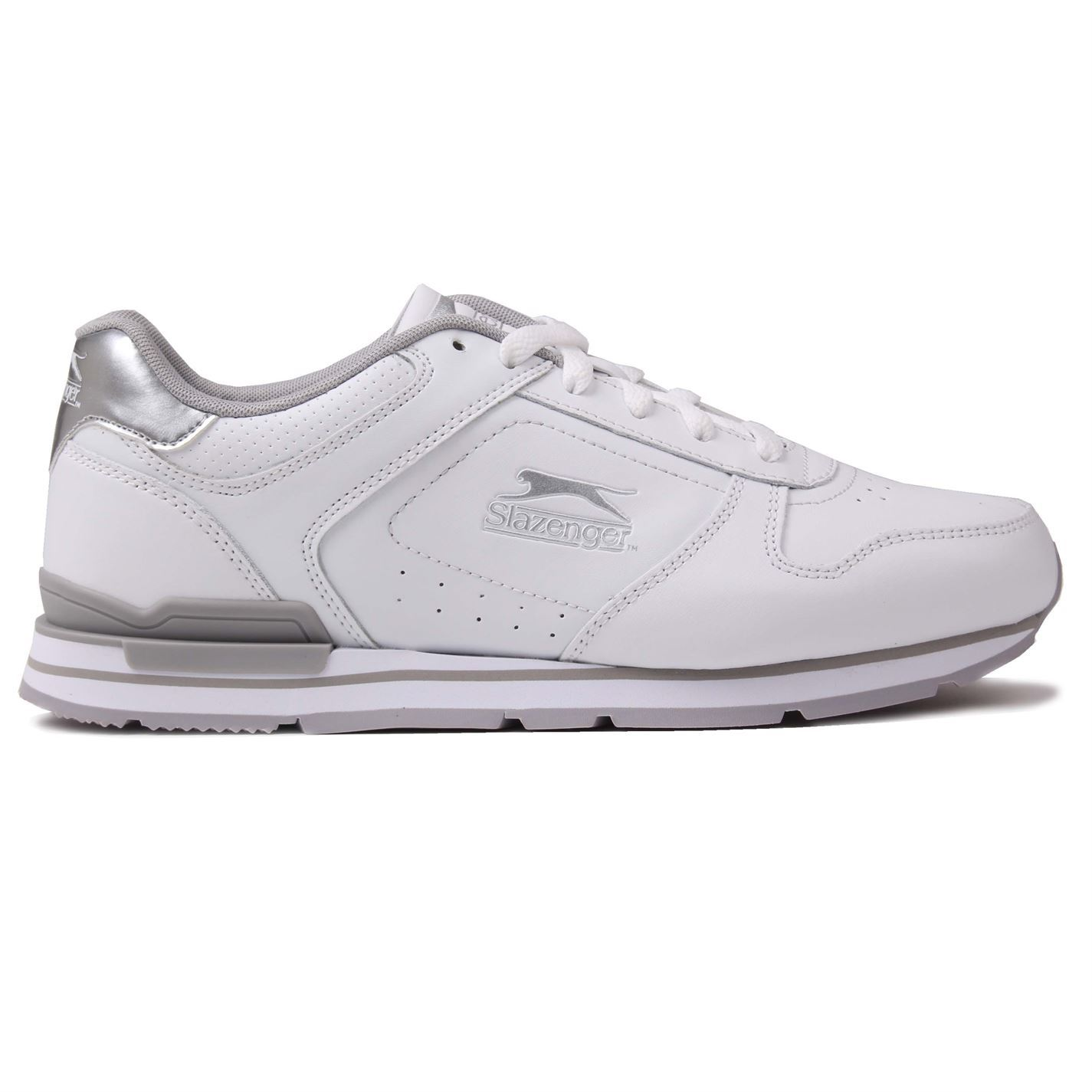 3086f343ba ... Slazenger Classic Trainers Womens White/Silver Sports Trainers Sneakers  ...