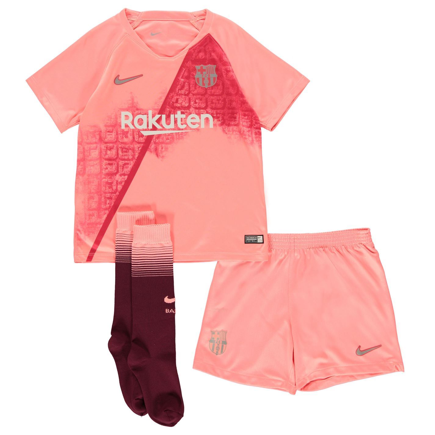new concept de547 dea86 Details about Nike Barcelona Third Mini Kit 2018 19 Infants Pink/Silver  Football Soccer Strip
