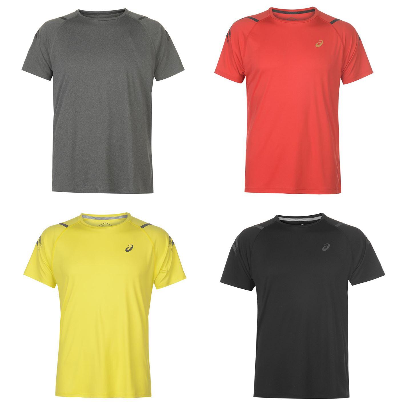 Détails sur Asics Icon T Shirt Course Hommes Courir Fitness Entraînement Haut NoirRouge