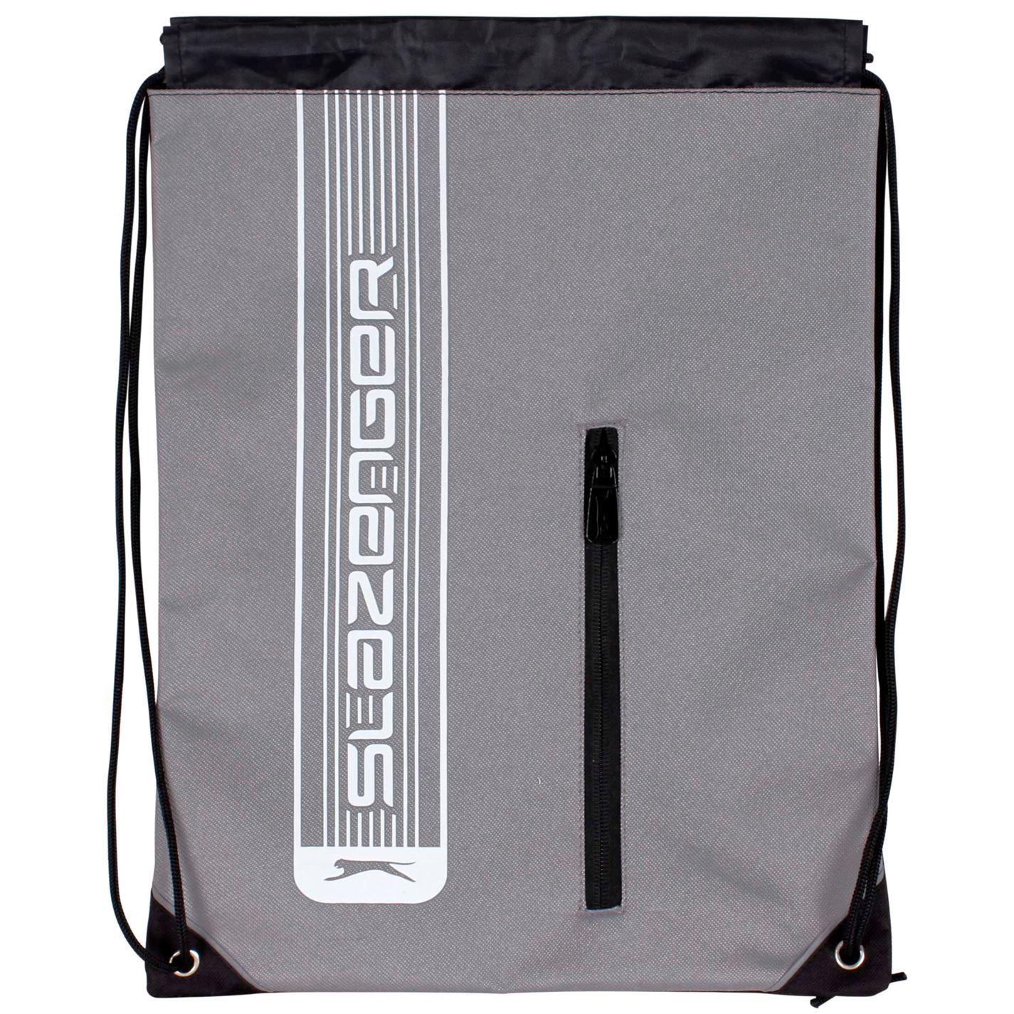 Slazenger Drawstring Gym Bag Charcoal School PE Sports Swimming Kit Sack