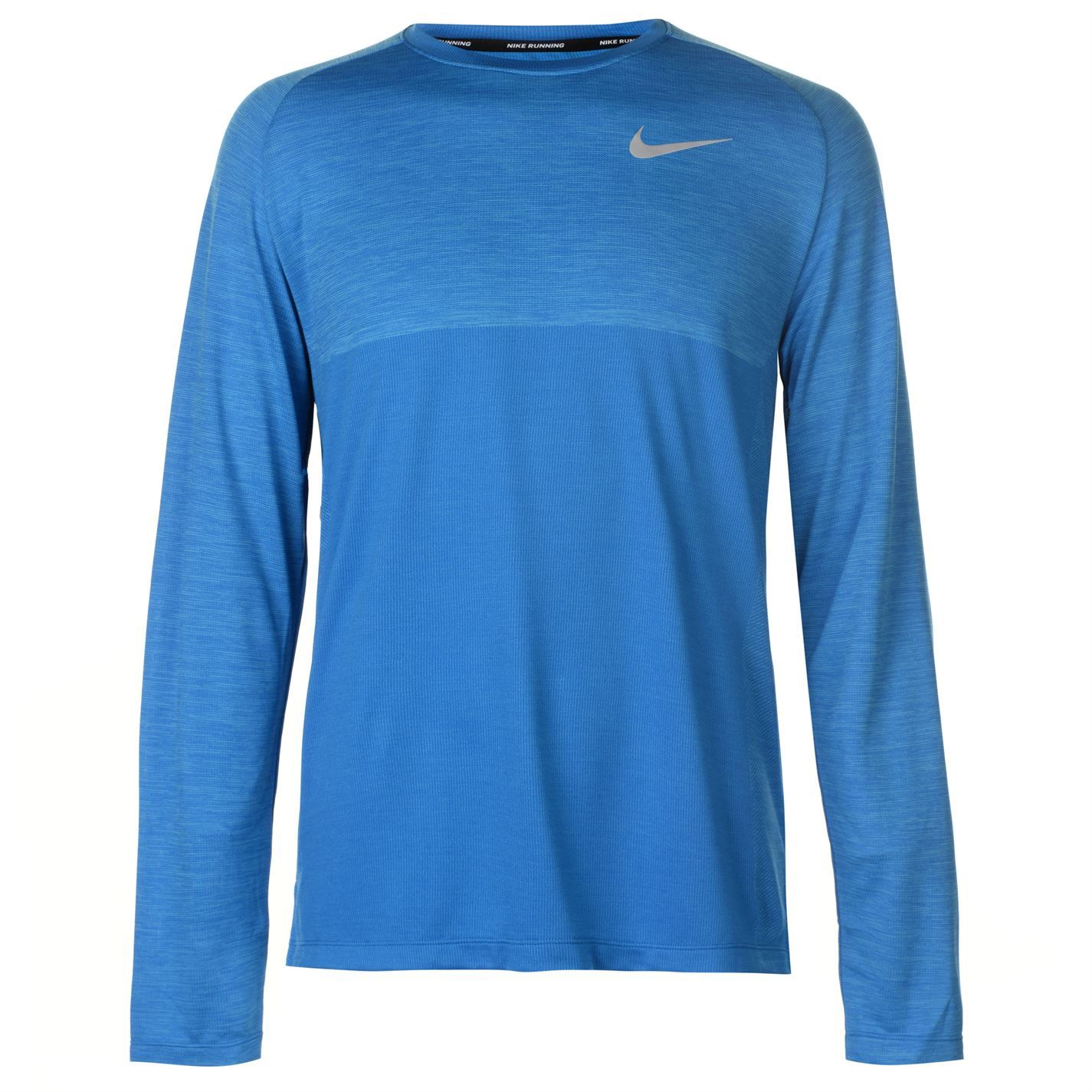 b1d77950 Details about Nike Medal Long Sleeve Running Top Mens Blue Jogging Fitness  Workout T-Shirt Tee