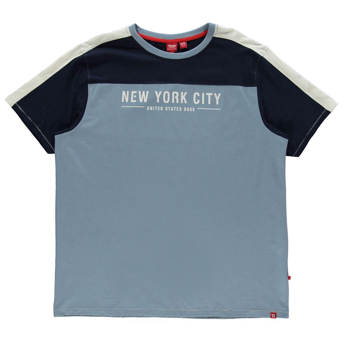 D555 New York T-Shirt Mens Top Tee Shirt Grey Marl XX-Large