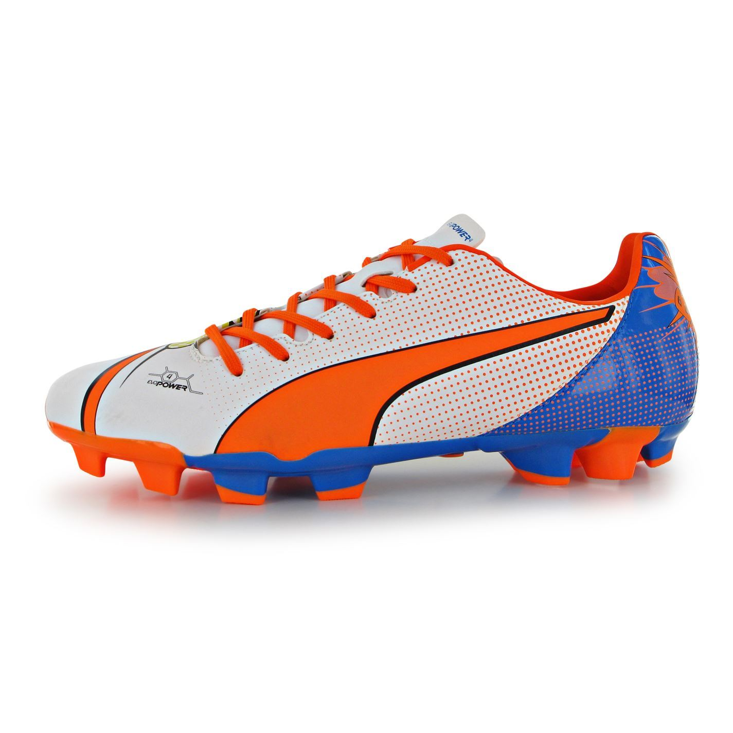 ... Puma EvoPower Pop 4 FG Firm Ground Football Boots Mens White Orn Soccer  Cleats ... 62897c4c8