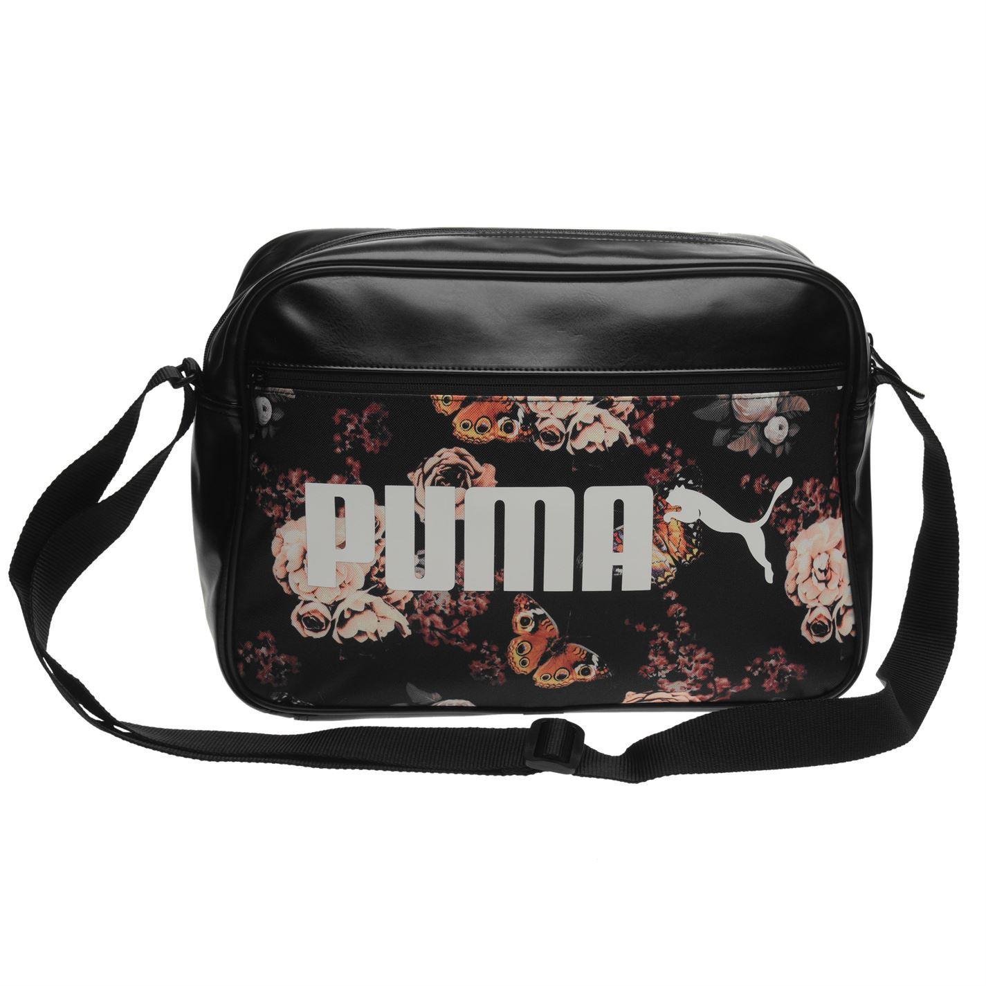 37dc385b25 ... Puma Flower Campus Reporter Bag Black Messenger Flight Bag Holdall ...