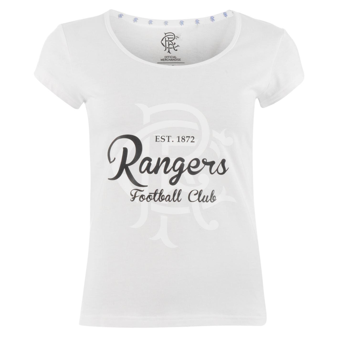 Camiseta Shirt Cresta Glasgow Rangers Impresión Fan T Fútbol Mujer OAgOnW8px