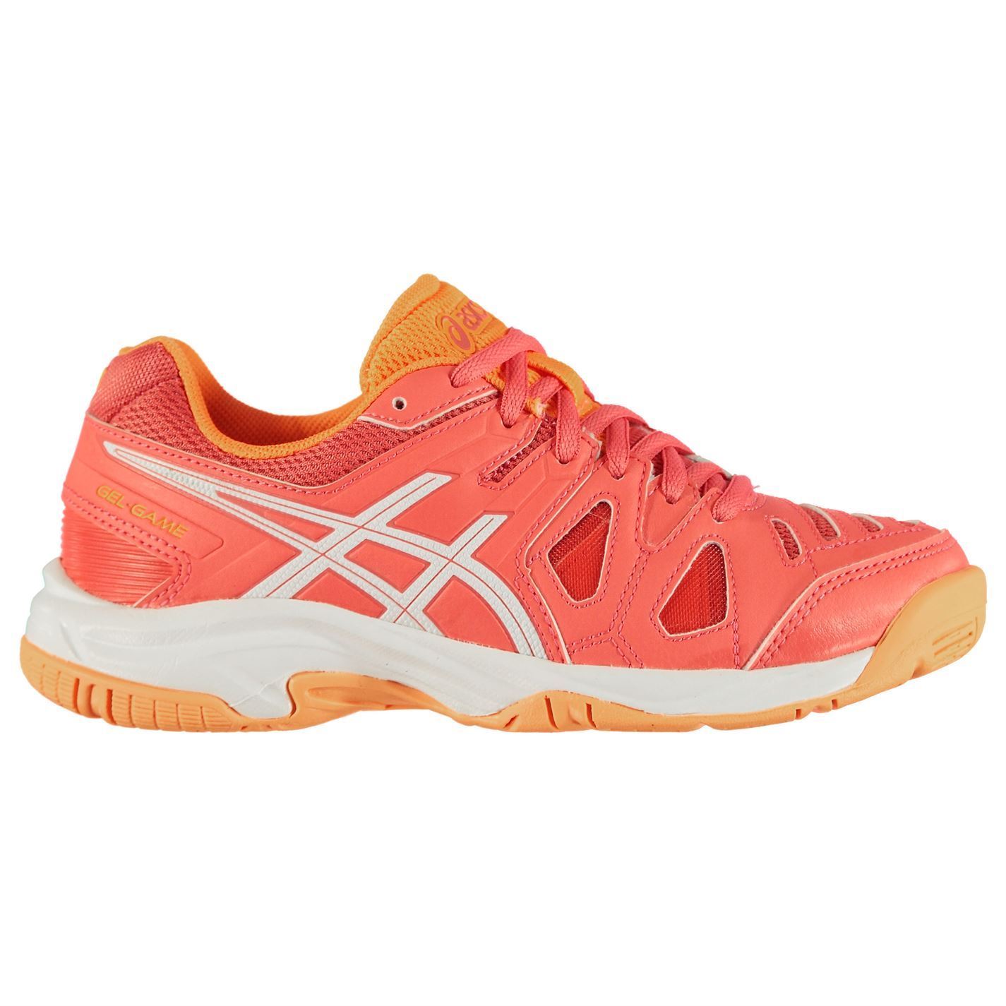 Details about Asics Gel Game 5 Tennis Shoes Juniors Girls CoraliciousWhite Trainers Sneakers