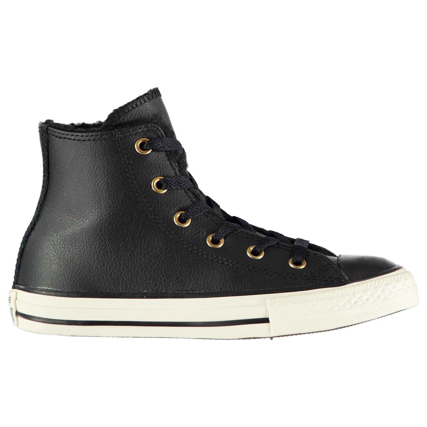 eb8f77e135b73 ... Sherling CONVERSE Hi Top ragazze scarpe nero scarpe ...