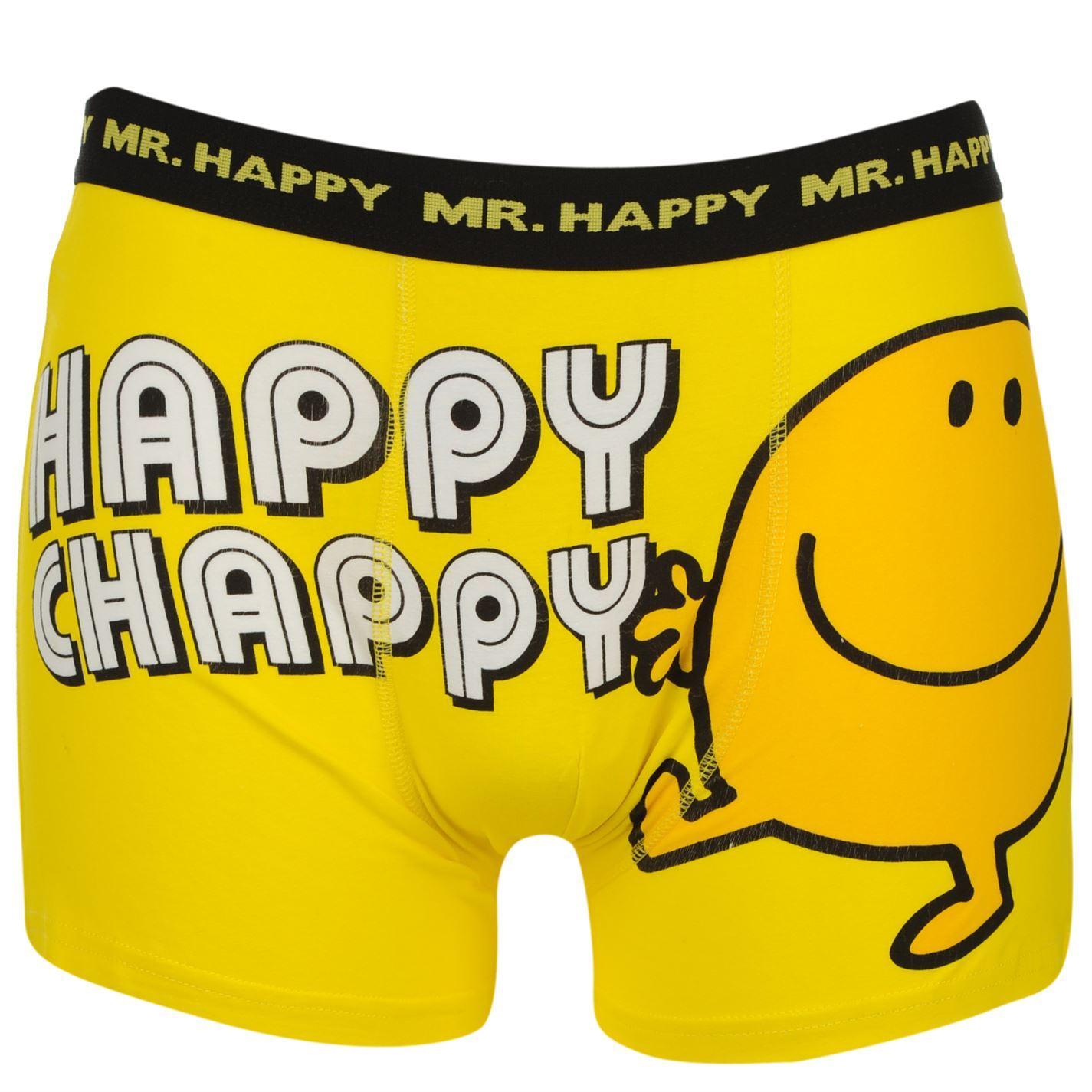 Mr Men Mr Happy Boxer Shorts Mens Yellow/Black Underwear ...