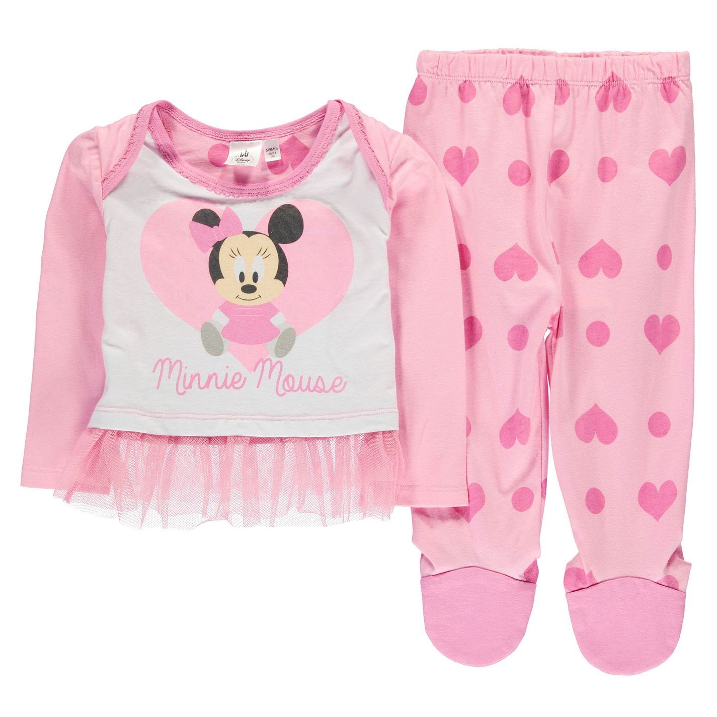 Disney Minnie Mouse 2 Piece Pyjama Set Infant Baby Pink Pajama