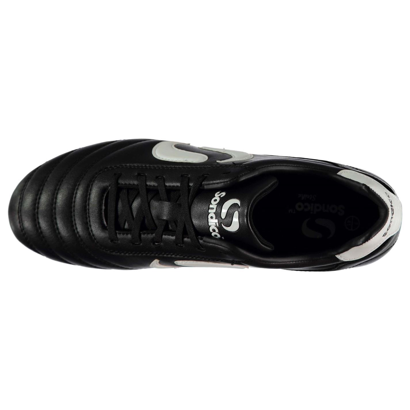 Sondico Strike Firm Ground Football Boots Mens Black//White Soccer Shoes Cleats