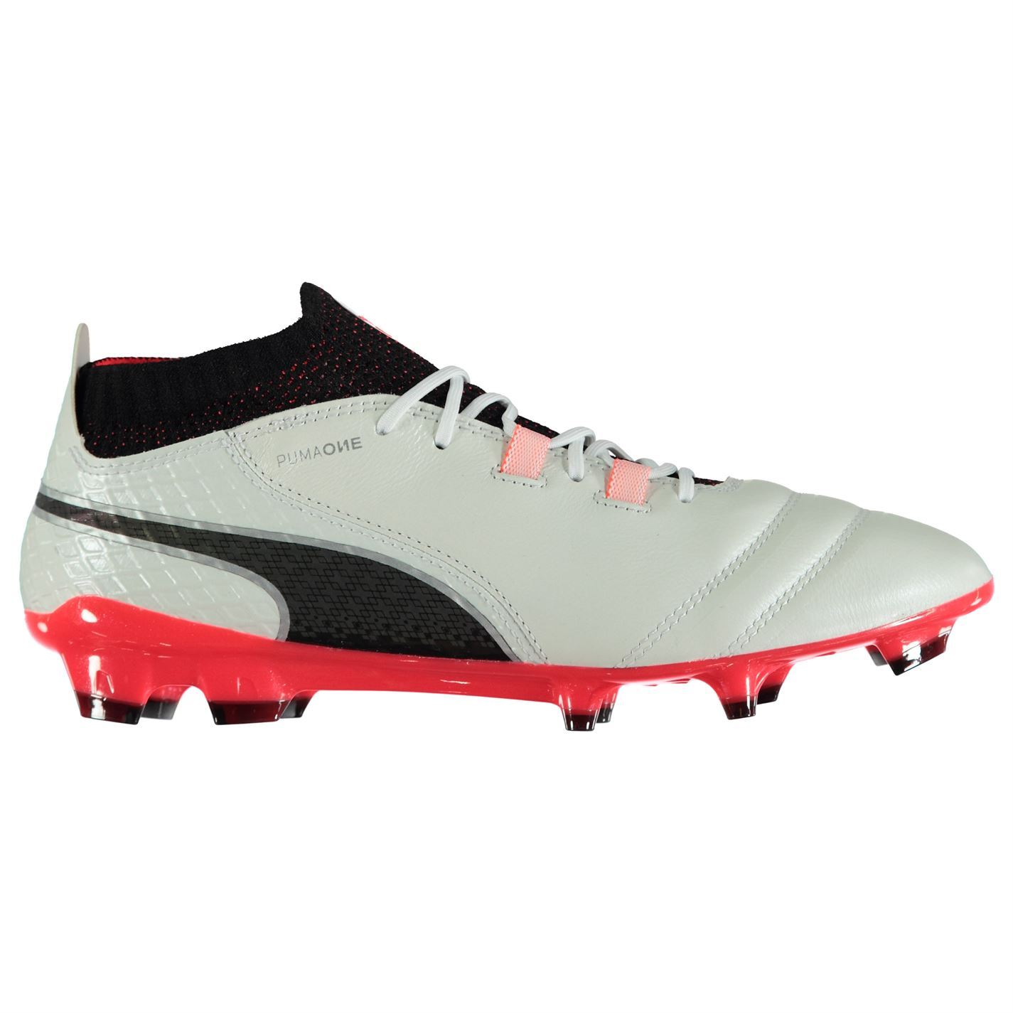 ... Puma One 17.1 FG Firm Ground Football Boots Mens White Coral Soccer  Shoes Cleats ... 8f04c49f5