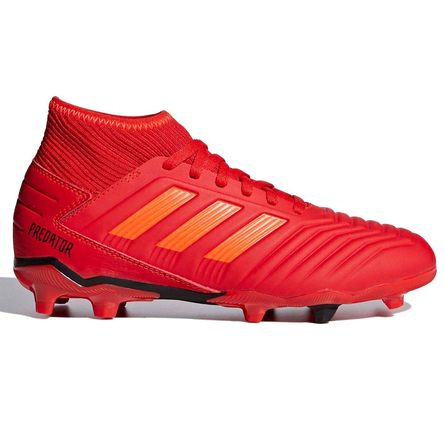 Dettagli su Adidas Predatore 19.3 Fg Firm Ground Calcio Stivali Juniors Rosso Tacchetti