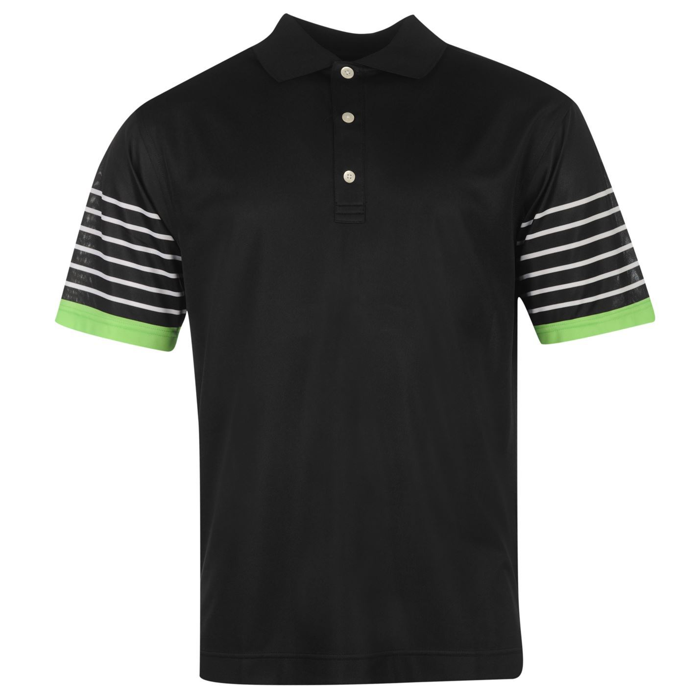 Black t shirt white collar -  Footjoy Stripe Sleeve Golf Polo Shirt Mens Black White Collar T Shirt Top Tee