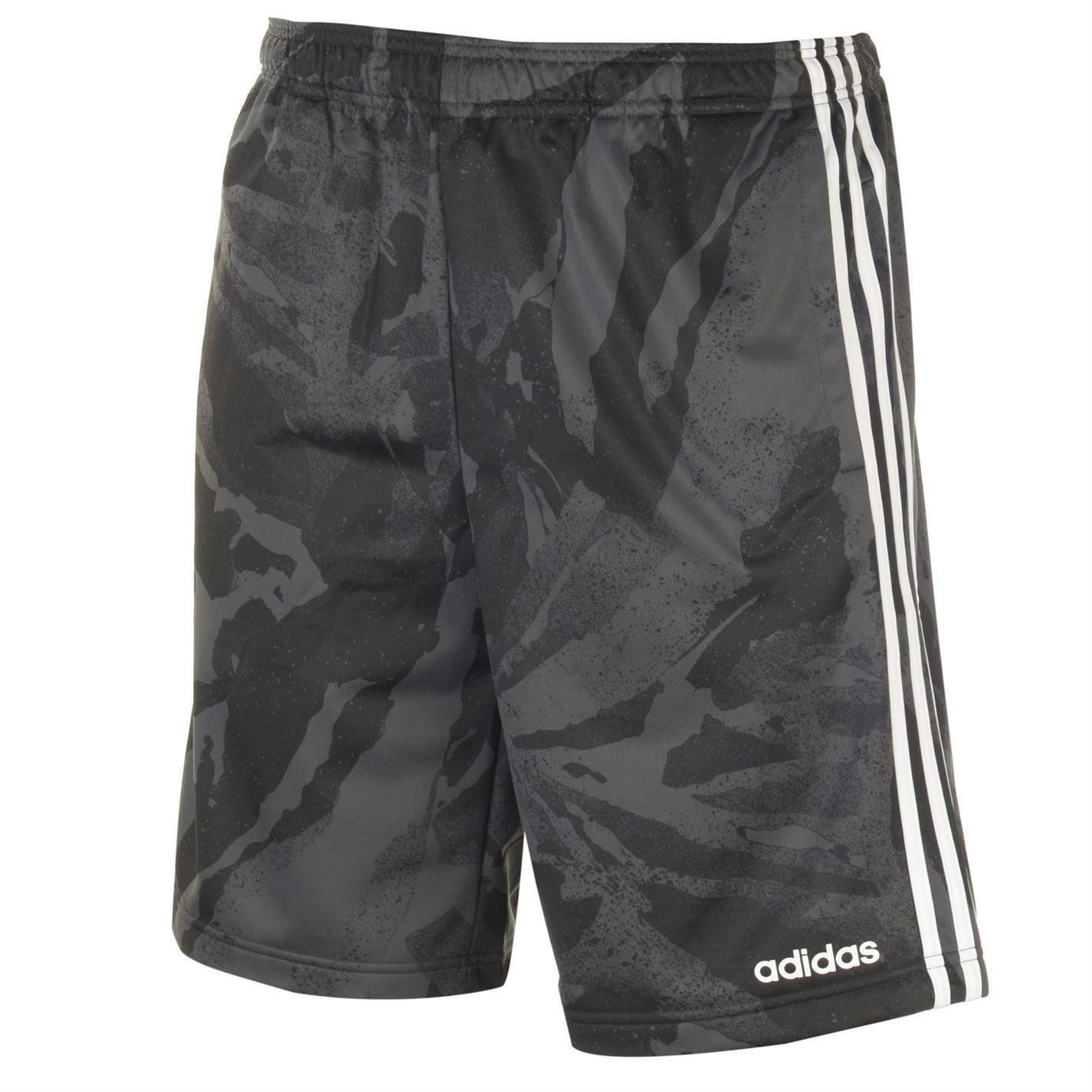 Dettagli su Adidas 3 Righe Camouflage Pantaloncini da Uomo GrigioBianco Pantaloni Fitness