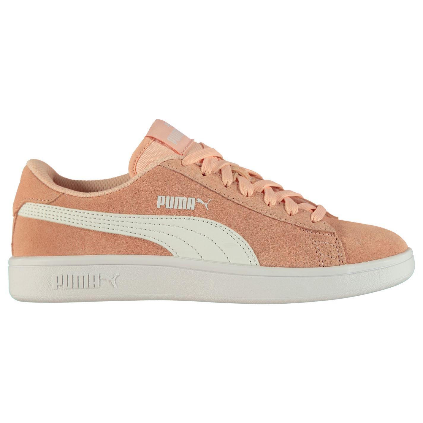 Puma Smash v2 Suede Trainers Juniors Girls PeachWhite Shoes