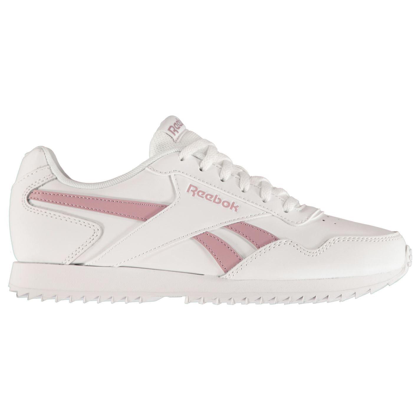 Detalles de Reebok Real Planear Onda Broche Zapatillas Zapatos Mujer Blanco Lila Informal