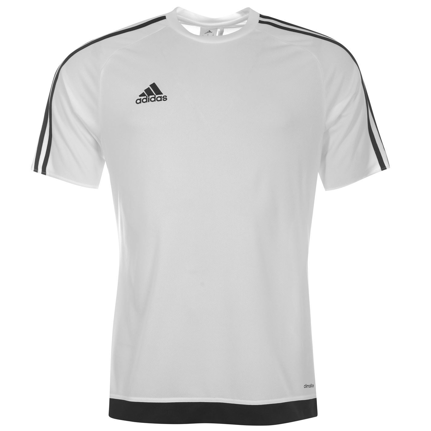 Adidas 3 Stripe Estro Climalite T Shirt Mens WhiteBlack Sports Top Tee Shirt | eBay