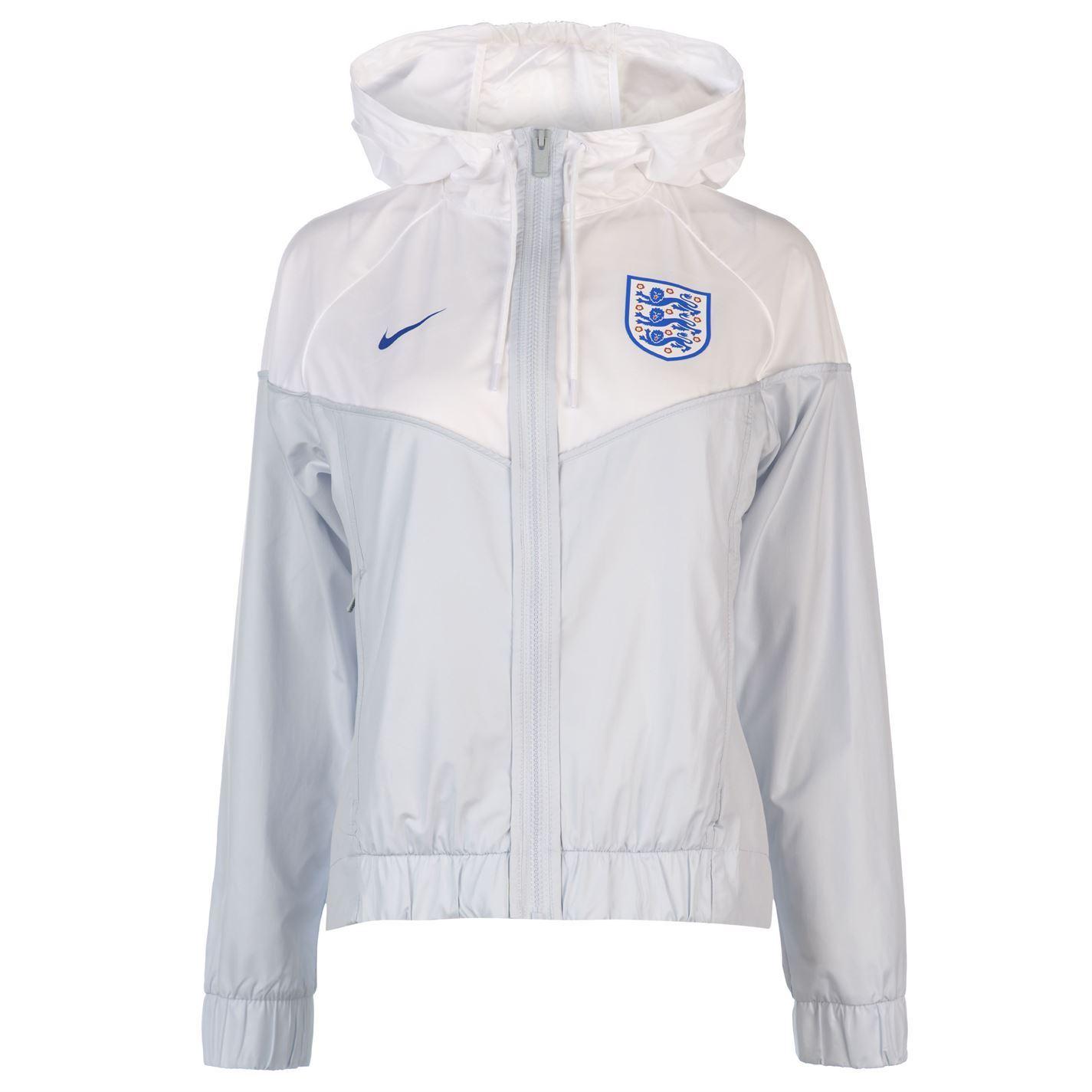 Details zu Nike England Windrunner Jacke Damen GrauWeiß Fußball Trainingsanzug Oberteil