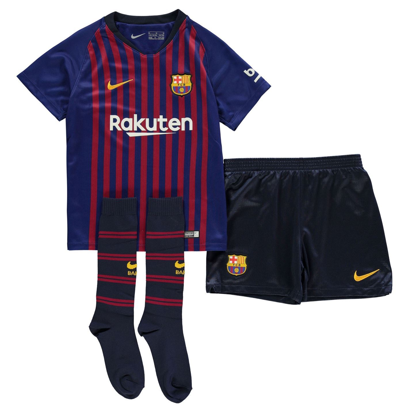 2a73016eb5844 Details about Nike Barcelona Home Mini Kit 2018 2019 Infants Blue Football  Soccer Strip