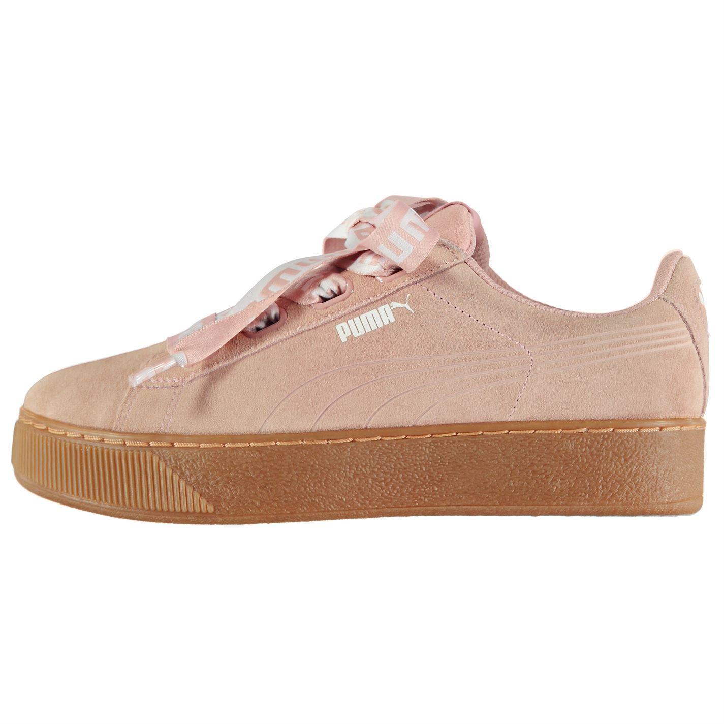903dfc179996 ... Puma Vikky Platform Ribbon Trainers Womens Peach Sports Trainers  Sneakers ...