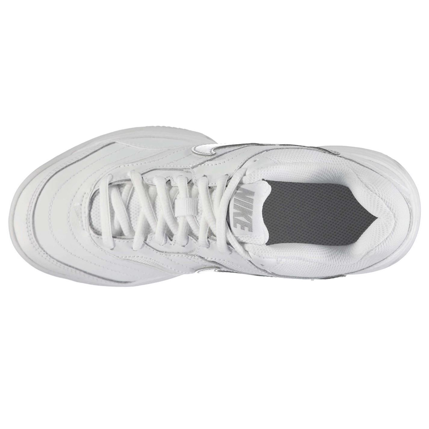 751b91015d70 Nike Court Lite Tennis Shoes Womens White Silver Sports Trainers Sneakers