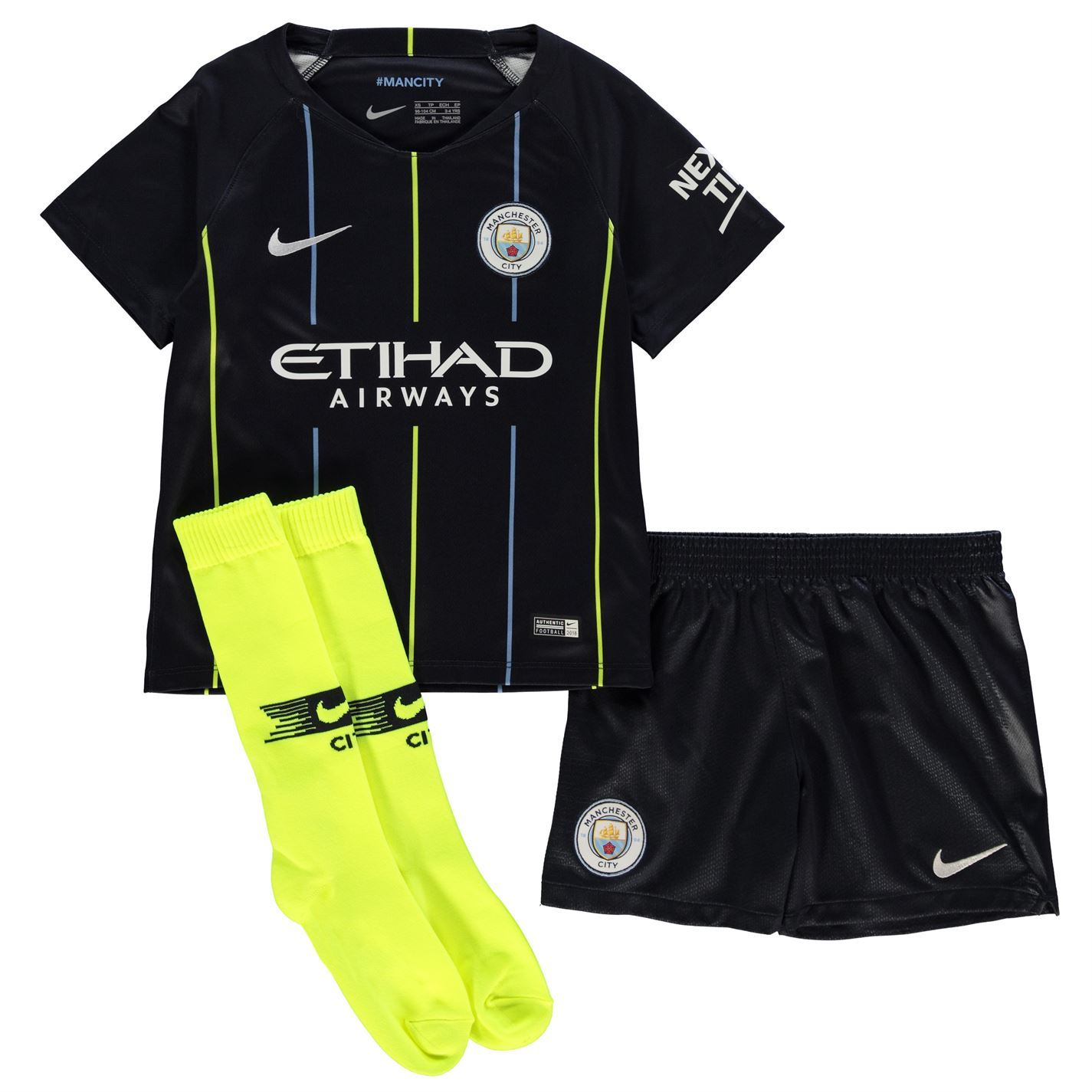 2acea3c98 Details about Nike Manchester City Away Mini Kit 2018 19 Infants Navy  Football Soccer Strip