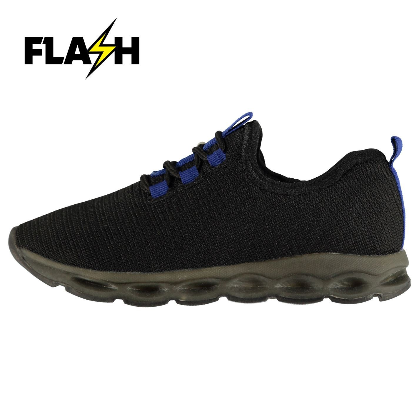 Fabric Childrens Flyer Runners Boys Trainers Laces Fastened Shoes Footwear