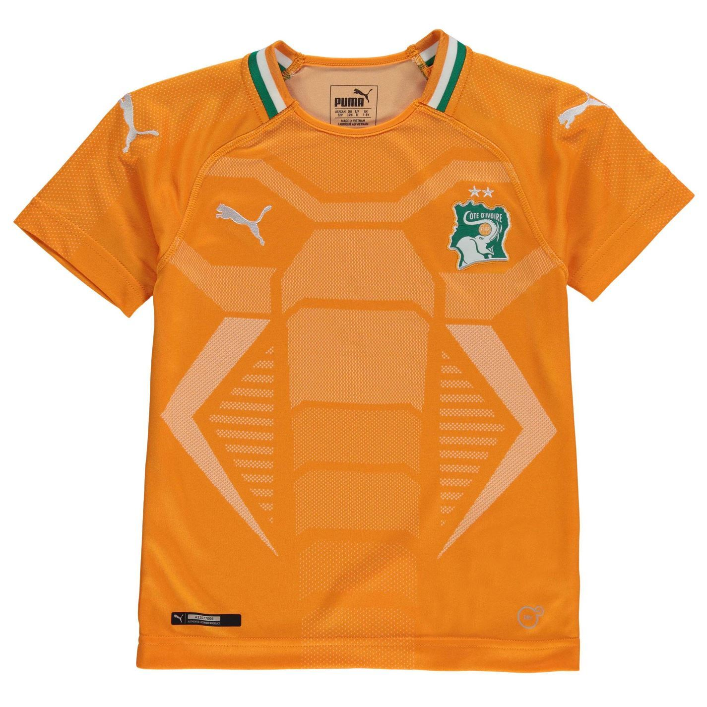 075e23cab Details about Puma Ivory Coast Home Jersey 2018 Juniors Orange Green  Football Soccer Shirt Top
